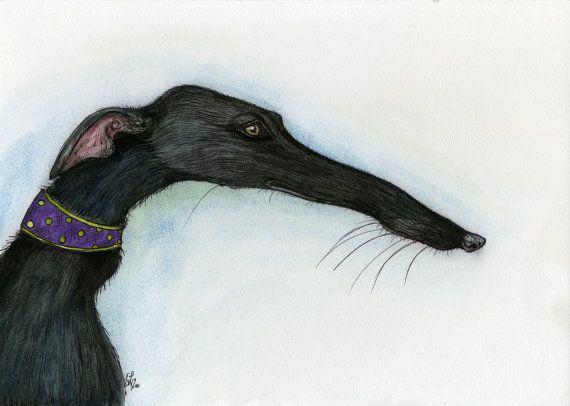 Ein wenig schief Nase  Greyhound Kunst Dog von AlmostAnAngel66, £15.00