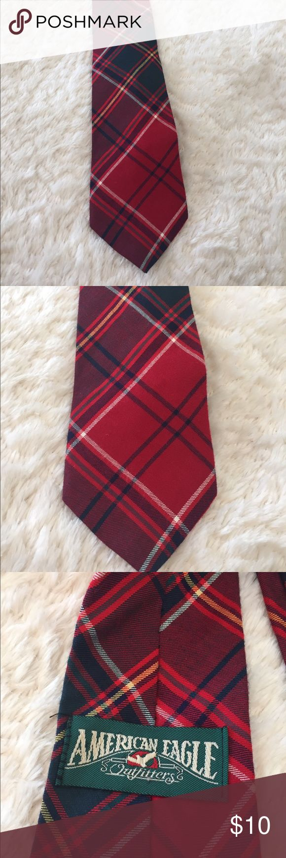 Red Plaid Tartan Men's Necktie American Eagle Great to wear at Christmas. Men's red plaid Necktie by American Eagle . Rayon and wool.Preowned and in good clean condition. Check out my closet to save on bundles . Reasonable offers accepted. American Eagle Outfitters Accessories Ties