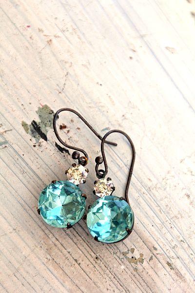 Aqua Sparkle Earrings - $14.99.