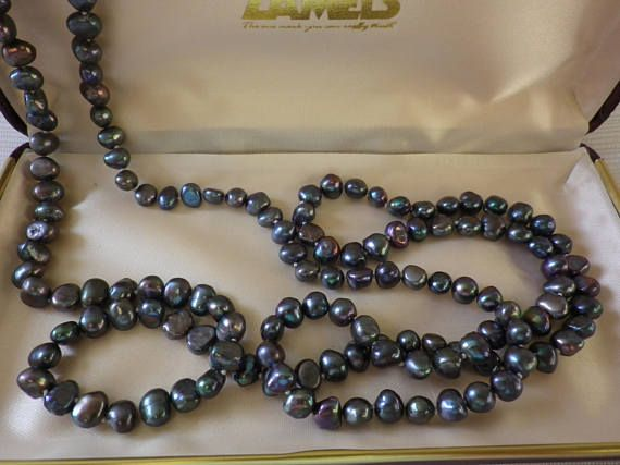 Vintage Tahitian Pearl Long Necklace Metallic Colours