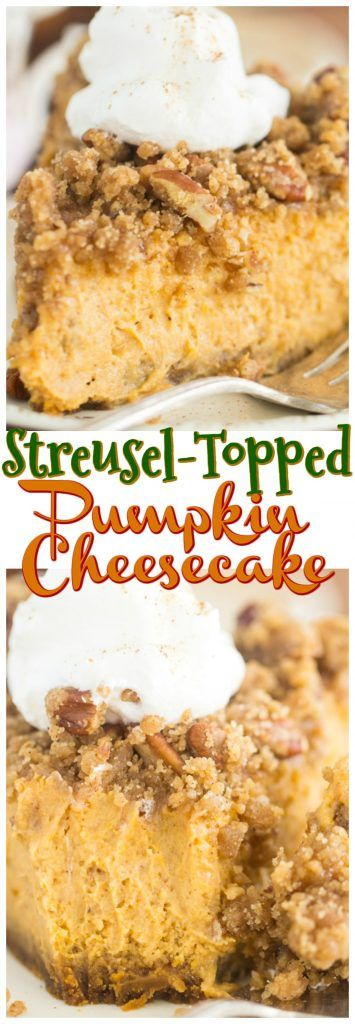 Crunchy, buttery, toasted pecan and brown sugar streusel atop a rich, creamy pumpkin cheesecake!