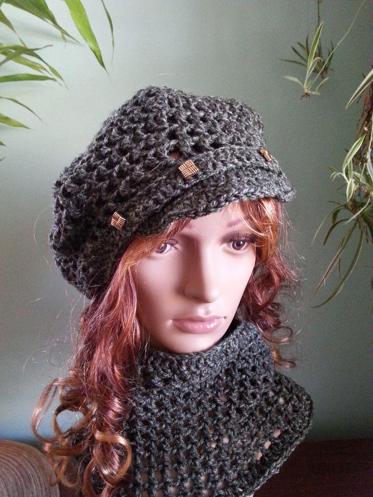 Crochet Hat And Neck Warmer Set, Newsboy Hat Neck Warmer Set, Winter Hat , Neck Warmer, Beret And Neck Warmer, Green Hat , Green Neck Warmer by MaraLunaDesign on Etsy