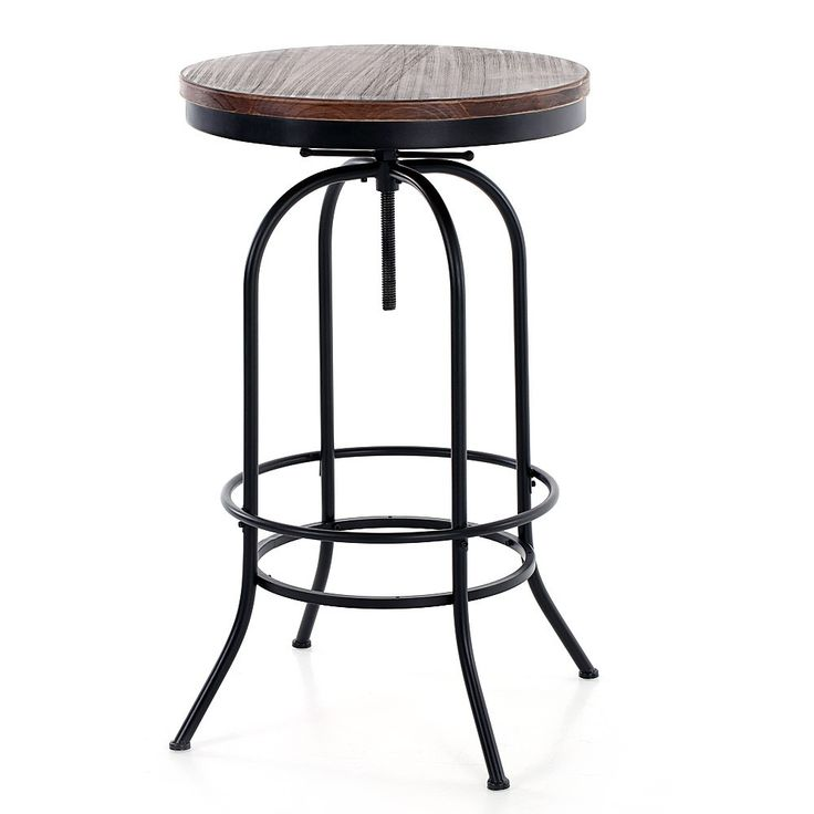 High Quality IKAYAA Round Natural Pine Wood Top Bar Pub Bistro Table Height Adjustable Industrial Style Swivel Kitchen Dining Breakfast Coffee Table from tomtop.com