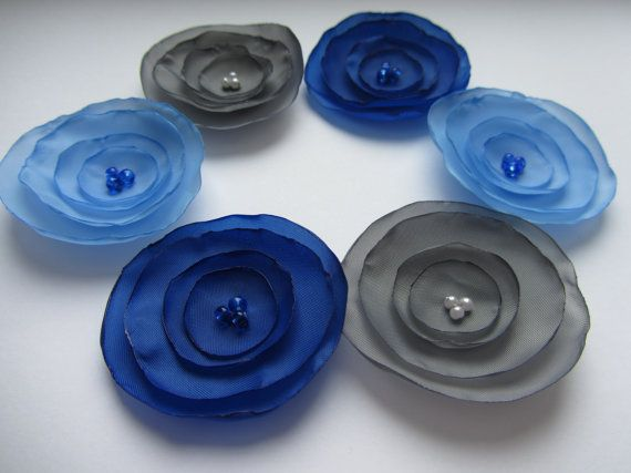 Fabric flowers, Silk flowers, Wholesale flowers, Blue fabric flowers, Gray flowers Grey, Singed flowers