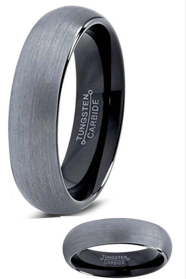 6mm brushed tungsten ring with black interior tungsten ringstungsten carbidemen wedding