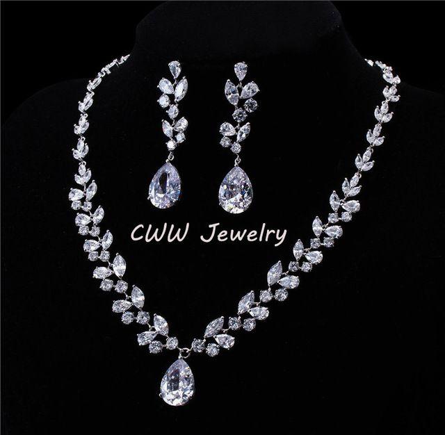 Luxe CZ diamant femmes bijoux de mariage Royal Blue Sapphire nuptiale collier boucles d'oreilles ensembles pour les mariées ( T115 )