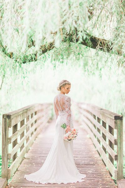 Vintage glam wedding gown idea - elegant fit-and-flare wedding gown + illusion lace sleeves and back {Julie Bulanov Photography}
