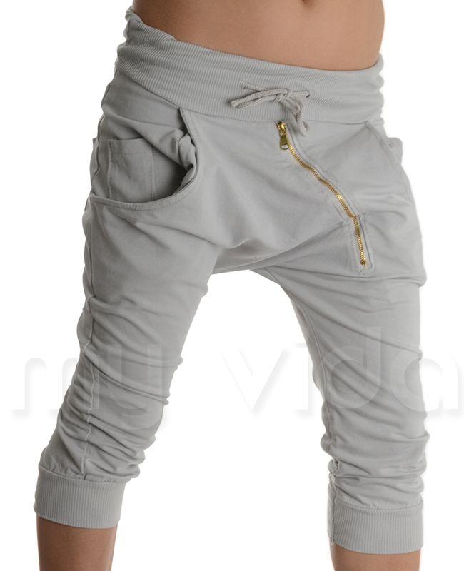 GRIGIO - #Pantalonicorti alla turca con zip. Pantaloncini #estivi modello #pinocchietti in cotone ed elastam, leggeri e comodi ideali in #estate