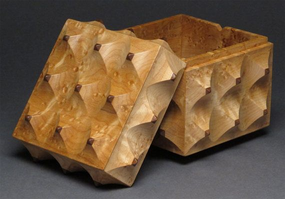 Birdseye Maple and Walnut Carved Wooden Box with by watswood, $450.00