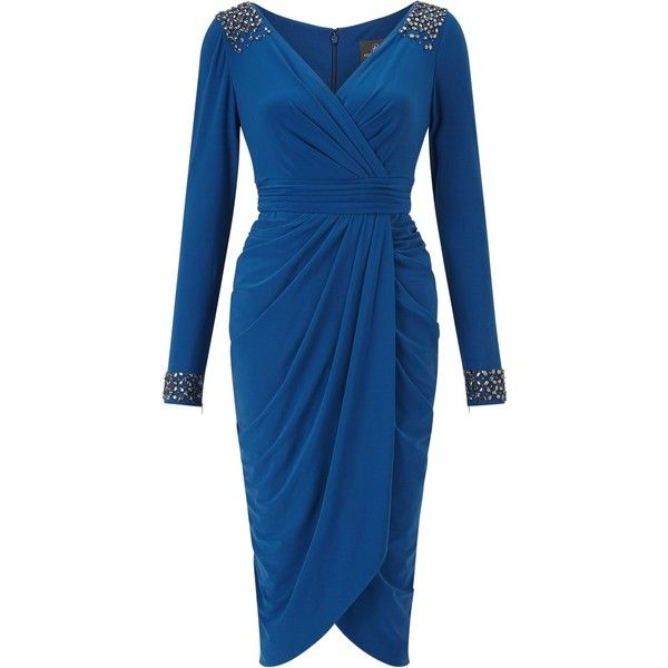Adrianna Papell Short Tulip Skirt Wrap Dress, Sapphire (€185) ❤ liked on Polyvore featuring dresses, v-neck maxi dresses, blue cocktail dresses, long sleeve short dress, wrap maxi dress and short sleeve cocktail dresses