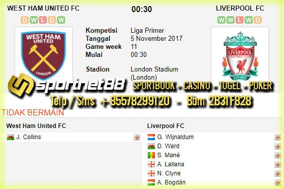 Prediksi Skor Bola West Ham United vs Liverpool 5 Nov 2017 Liga Inggris di London Stadium (London) pada hari Minggu jam 22:00 dan di siarkan langsung di bein sport 1