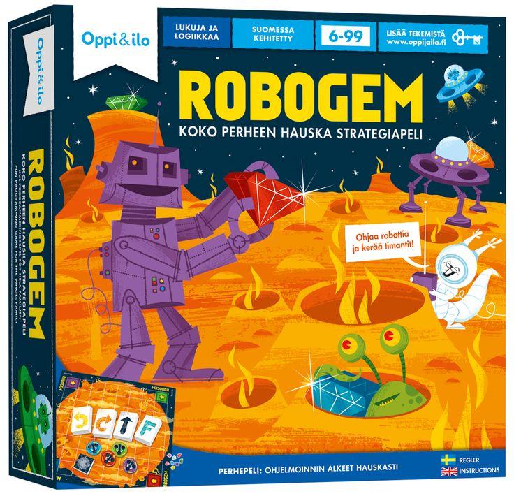 Robogem on vauhdikas ja koukuttava strategiapeli, jossa robotit etsivät timantteja kaukaiselta planeetalta. Ohjaa robotteja yksinkertaisilla käskyillä, taktikoi, välttele esteitä ja nappaa timantit ensin! Peli vaikeutuu taitojen karttuessa - siinä riittää haastetta koko perheelle!  Ohjelmointi on tulevaisuuden perustaito. Opit helposti hahmottamaan ohjelmoinnin perusasioita – loogista päättelykykyä ja yksityiskohtaisten käskyjen antamista. Käske robottiasi, kerää timantteja ja pidä hauskaa!