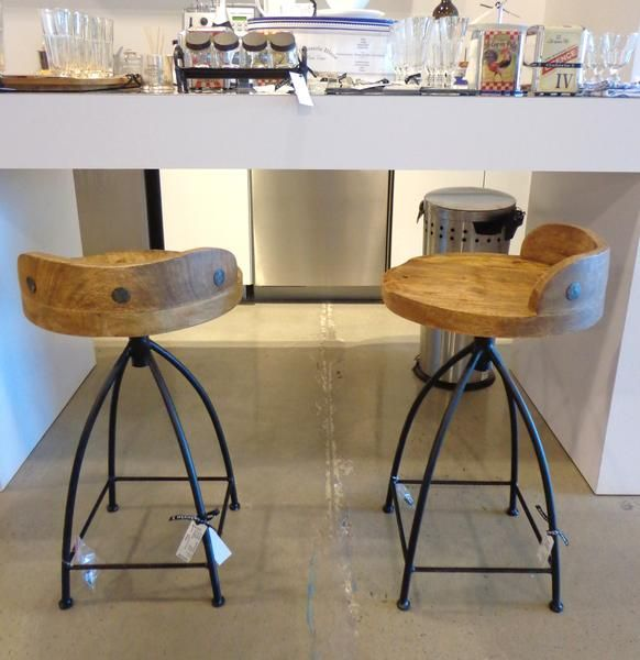 Stool with wood seat & iron base, swivel #galeriem #seating #stools #kitchen #bar #wood #chair