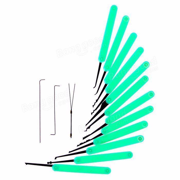 Verde 12pcs que desbloquea la cerradura de la cerradura de la herramienta del extractor de la llave de la selección de la cerradura de la cerradura herramientas + torsión llaves + sistema de la lona Venta - Banggood.com