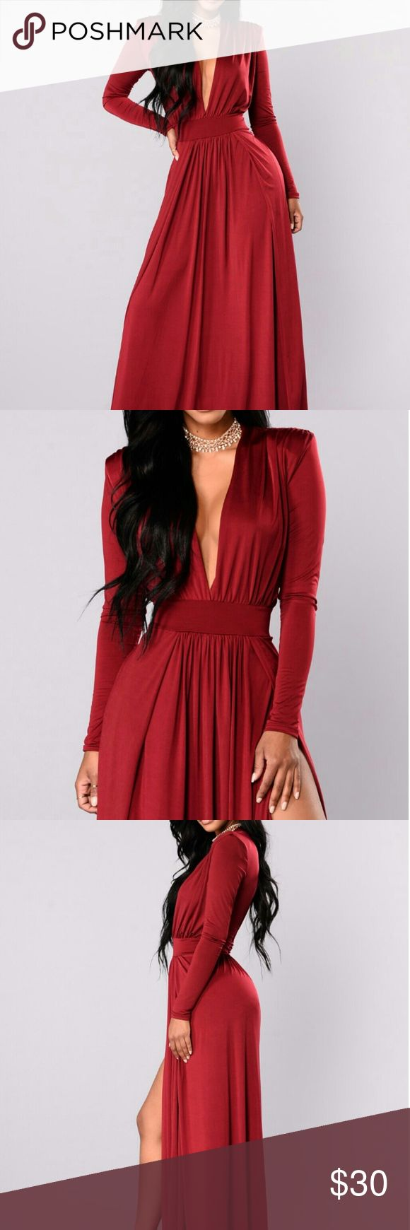 Fashion Nova Spree Dress - Burgundy New with tags; Never worn; Still sitting in original packaging.   Beautiful dress, but I just don't have an occasion to wear it to!  I wanted to return it to the store, but I missed the 30 day return policy unfortunately :(  Please check out the original site for more information about the dress: https://www.fashionnova.com/products/spree-dress-burgundy Fashion Nova Dresses Maxi