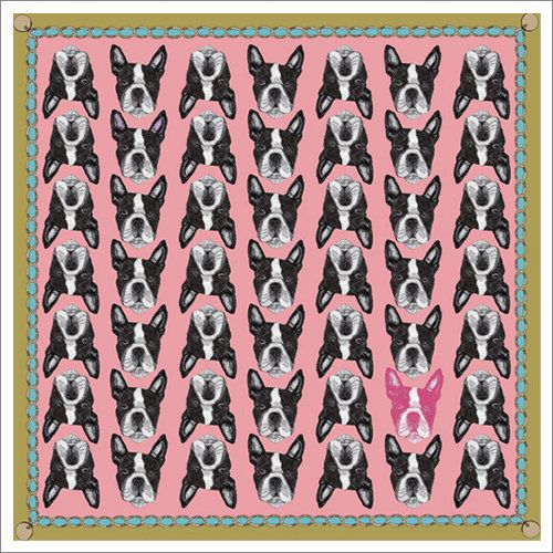"""I figure once you own clothing items emblazoned with dogs, that officially makes you a """"crazy dog person"""", right? I mean, I already have a flying Schnauzer t-shirt, so I may as well go full-blown crazy with one of these awesome silk scarves by Lisa Bliss!"""