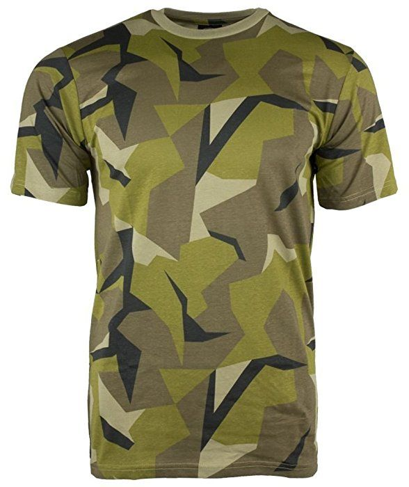Swedish Army Camouflage Military T-Shirts Army Camo Tops (Large)