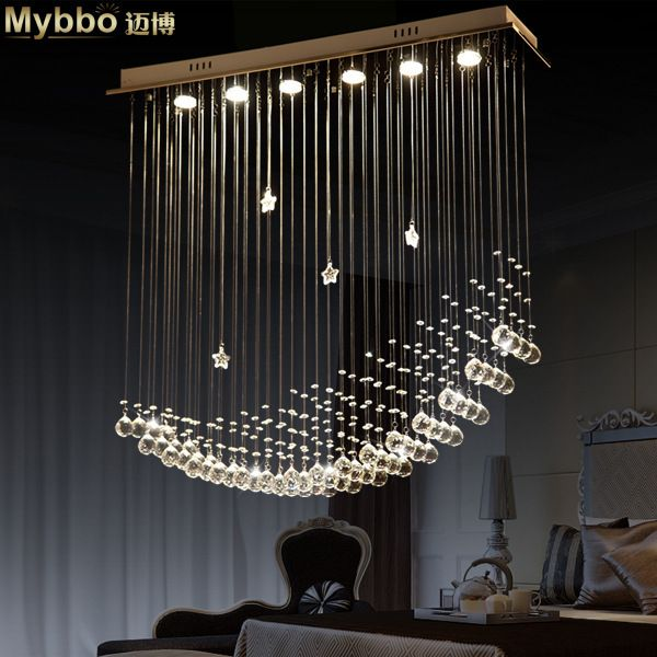 Funky Wall Lights >> umm wow, amazing chandelier Free Shipping Simple Fashion Modern LED Moon Ship Crystal ...