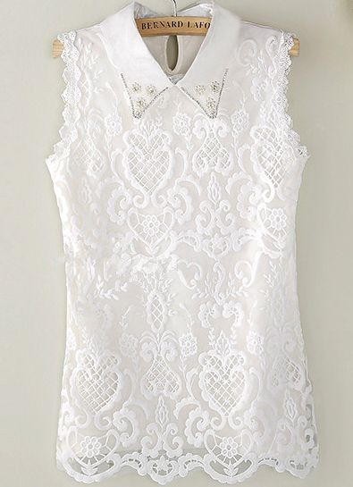 White Sleeveless Lapel Pearl Lace Blouse - Sheinside.com