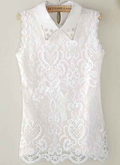 Blusa encaje solapa perlas sin manga-blanco 10.19