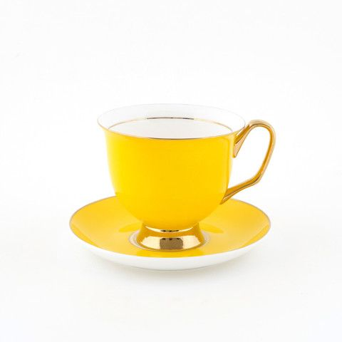 #Yellow #375mL #XL #Teacup and #Saucer #Set | The bigger teacup you have always wanted! Get yours today at lyndalt.com/collections/teacups