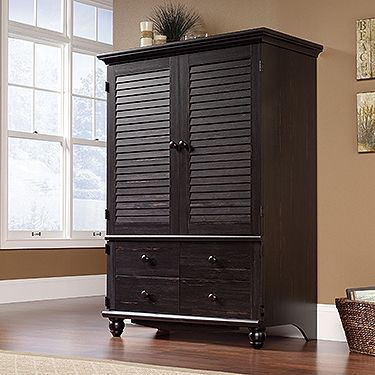Entertainment Armoire with Antiqued Paint finish and cottage style louvered paneling.