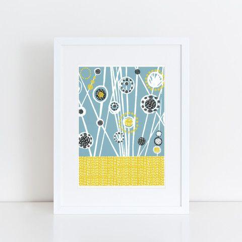 Mid Century Meadow Linocut Print (Cornflower)
