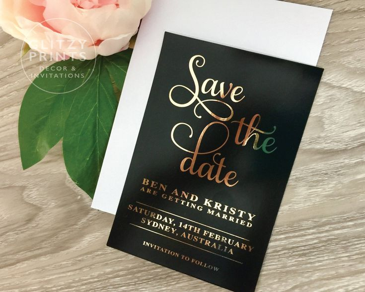 Gold Foil Save the Date Wedding Invitation SAMPLE, Printed Wedding Invitation,  Engagement Christening Invitation, Black and Gold by GlitzyPrints on Etsy  Beautiful black & gold invitation featuring real gold foil.  This invitation is simply stunning.