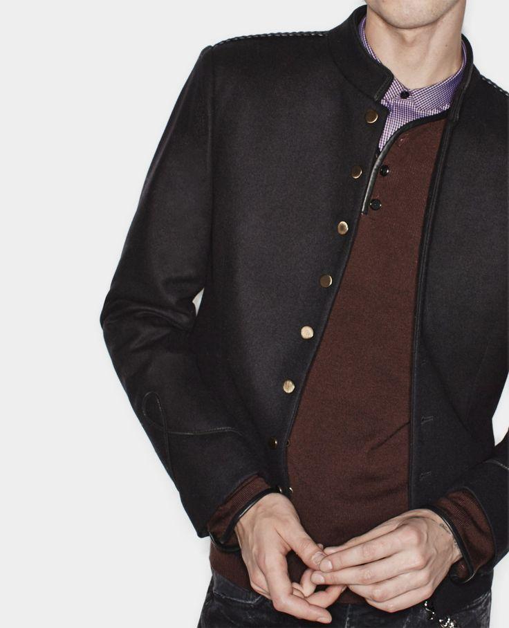 Veste façon militaire à boutons dorés et détails de cuir - The Kooples