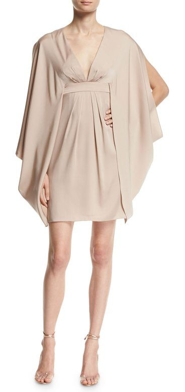 V-Neck Stretch-Silk Kimono Dress by Trina Turk. Trina Turk kimono-style stretch-silk dress. Deep V neckline; self-tie back. Long draped, split kimono sleeves. Banded...