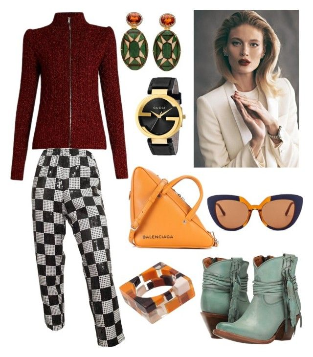 """80s Inspired Outfit"" by hellenrose7292 on Polyvore featuring Isabel Marant, Lucchese, Balenciaga, Gucci and Marni"