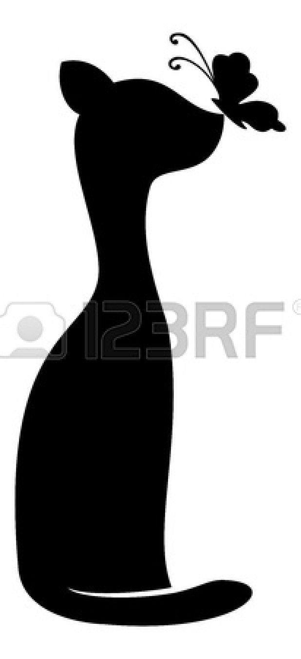 Cartoon, animals friends: cat with a butterfly. Black silhouettes on white background.