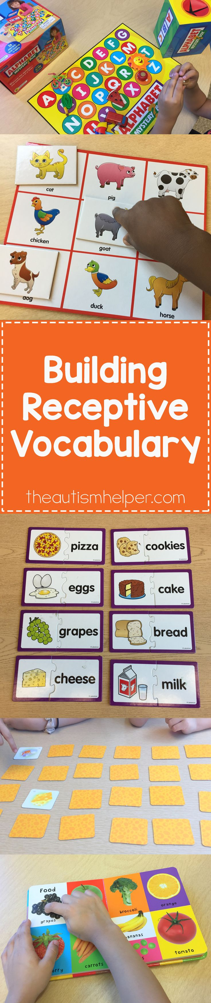 Building receptive language skills is so important to help our students associate meaning to words. Sarah's sharing different activities & ways to model new vocab terms & concepts today on the blog!! From theautismhelper.com #theautismhelper