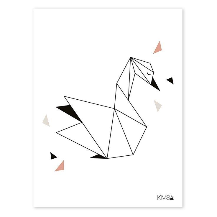 Poster Origami Zwaan 30x40cm