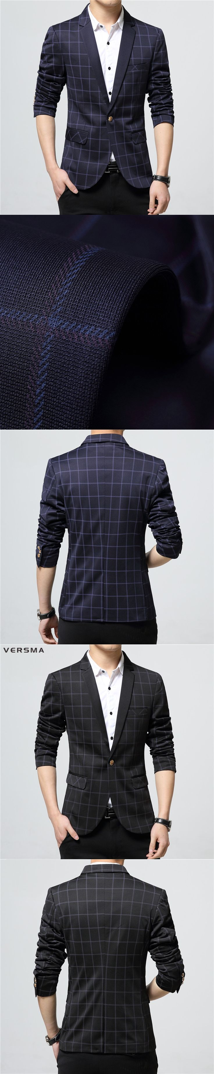 VERSMA 2017 British Slim Fit Blazer Men Designs Plaid Stylish Suits Blazers Brand Mens Formal Royal Blue Blazer Suit Jacket 3XL