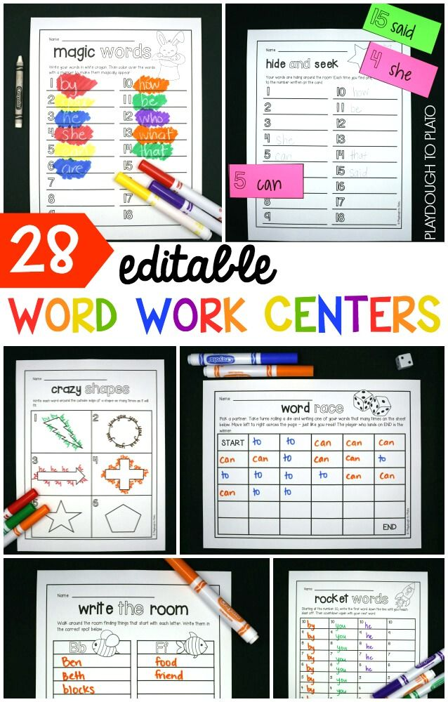 28 editable word work centers! Such a huge time saver. Practice sight words, make literacy centers... there are so many possibilities!