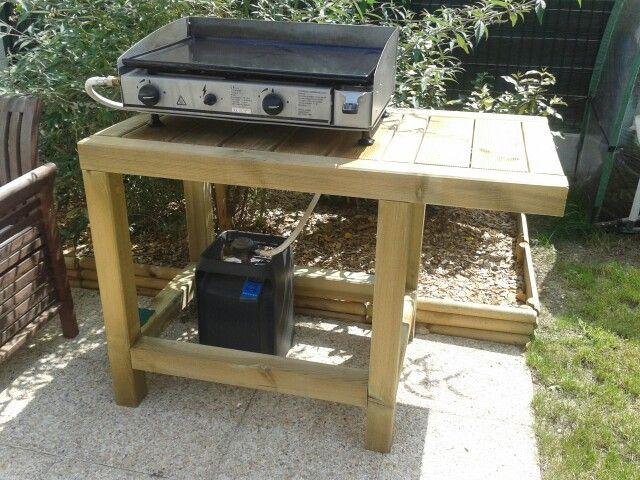 Table pour plancha faite par mon mari. Outdoor table made by my husband.