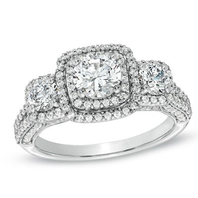2 CT. T.W. Diamond Double Frame Past Present Future Three Stone Engagement Ring
