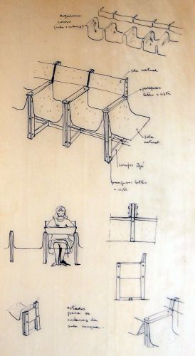 Bardi's sketch (detail) of wood and leather seats for the auditorium
