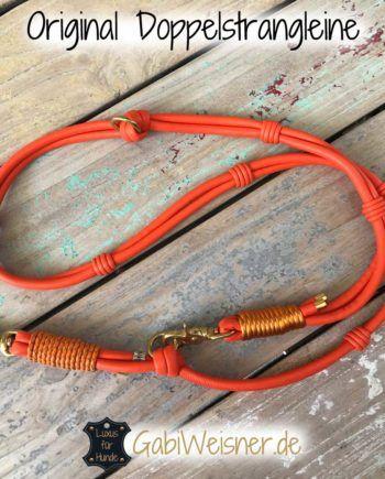 Hundeleine Leder in Orange