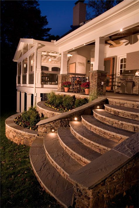 love everything about this flower beds and use of stone accents on stairs amazing lighting steps t