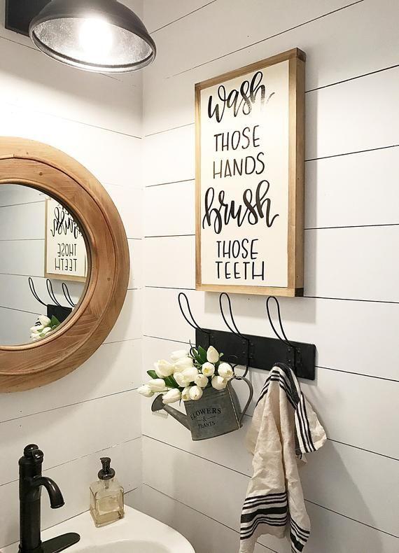 Wash Those Hands Brush Those Teeth Sign Framed Sign Etsy Bathroom Farmhouse Style Bathroom Wall Decor Diy Bathroom Wall Decor