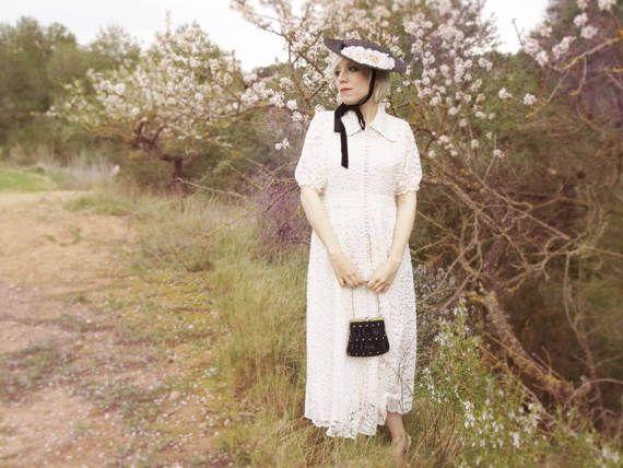 Regina Elegant Guipure Lace Dress White Black by IndrolitaClothing