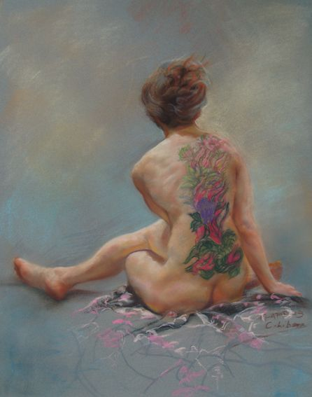 Tattoo Woman, by Cyprian Libera, pastel on toned paper, 18 x 24""