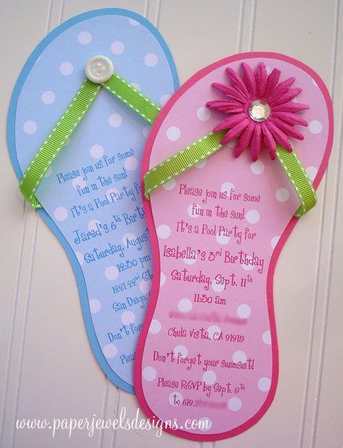 Süße Flip-Flop Einladung für deinen nächsten Kindergeburtstag. Einfach einen Flip Flop als Vorlage nehmen und aus bunter Pappe die Einladung basteln. Super Idee für DIY <3