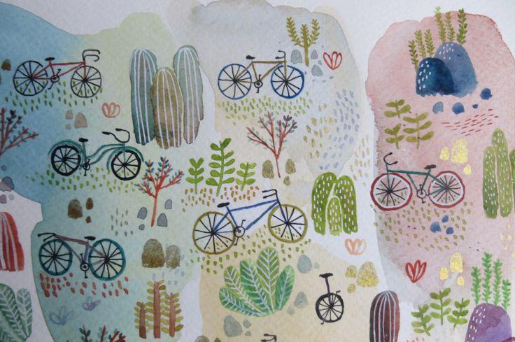 Eliblue Ilustración & diseño #watercolor #acuarelas #bike #bikeillustration