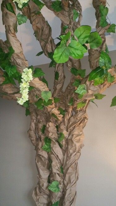 Paper tree, flowers, leaves. Perfect t for classroom, toy room, game room, bedroom or nursery. Rainforest or jungle theme