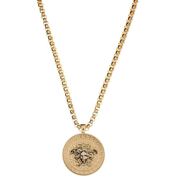 Versace Medusa Head Medallion Necklace (290 KWD) ❤ liked on Polyvore featuring men's fashion, men's jewelry, men's necklaces, mens chain necklace, versace mens necklace, mens engraved necklace, mens gold necklace and men's gold chain necklaces