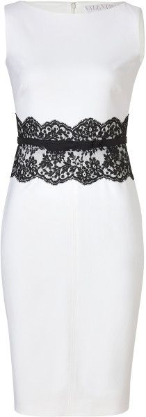 Ivory Belted Wool Dress with Black Lace Waist - Lyst by Vaalentino