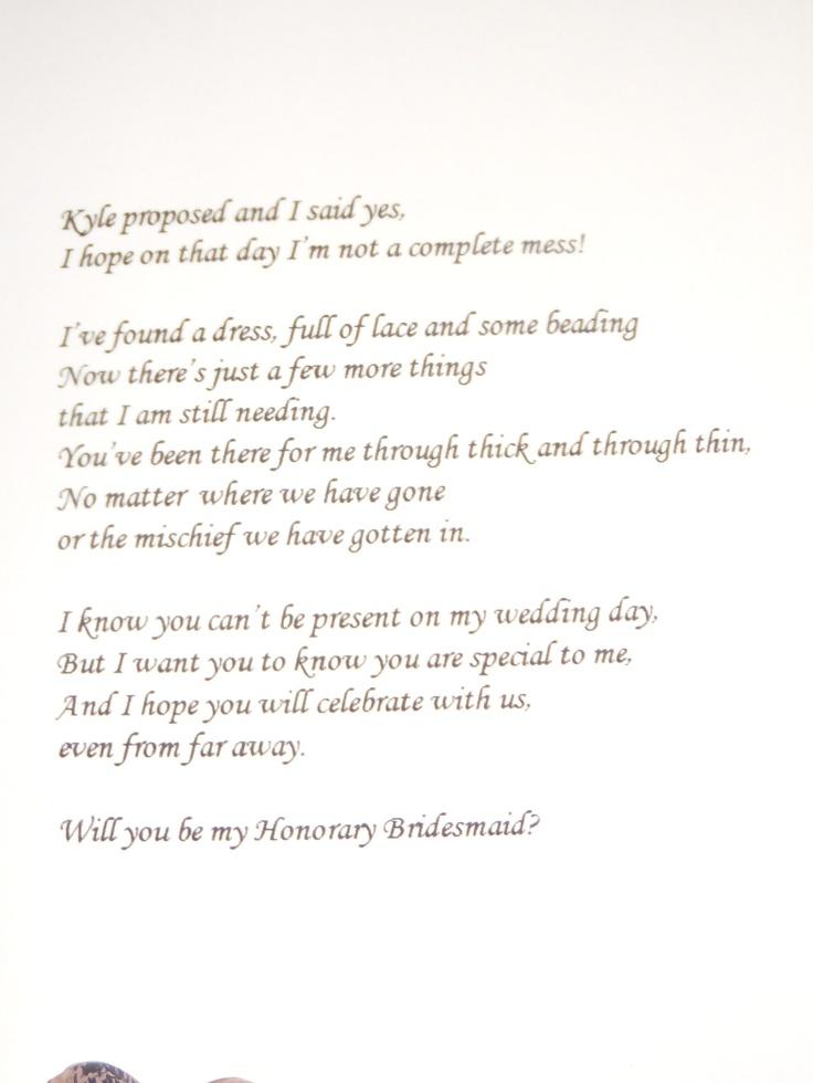 Inside of honorary bridesmaid card